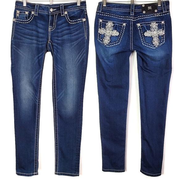 Miss Me Bling Cross Skinny Jeans SZ 27